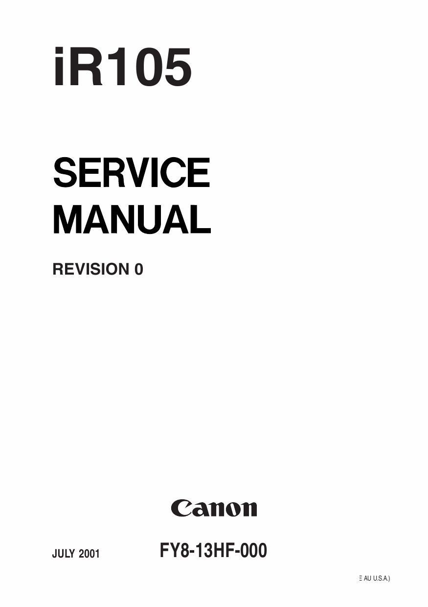 Canon imageRUNNER iR 105 Parts and Service Manual